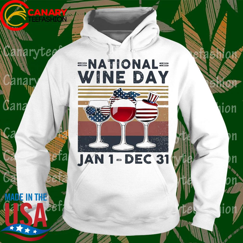 American flag Glass nation wine day Jan 1 dec 31 s hoodie