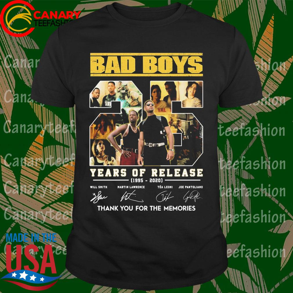Bad Boys 25 Years of release 1995-2020 thank You for the memories signatures shirt