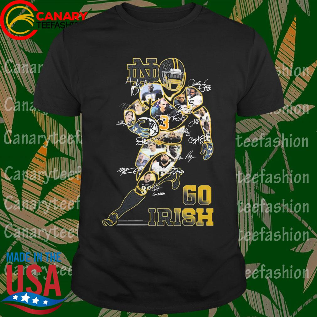 Notre Dame Fighting Irish football Go Irish signatures shirt
