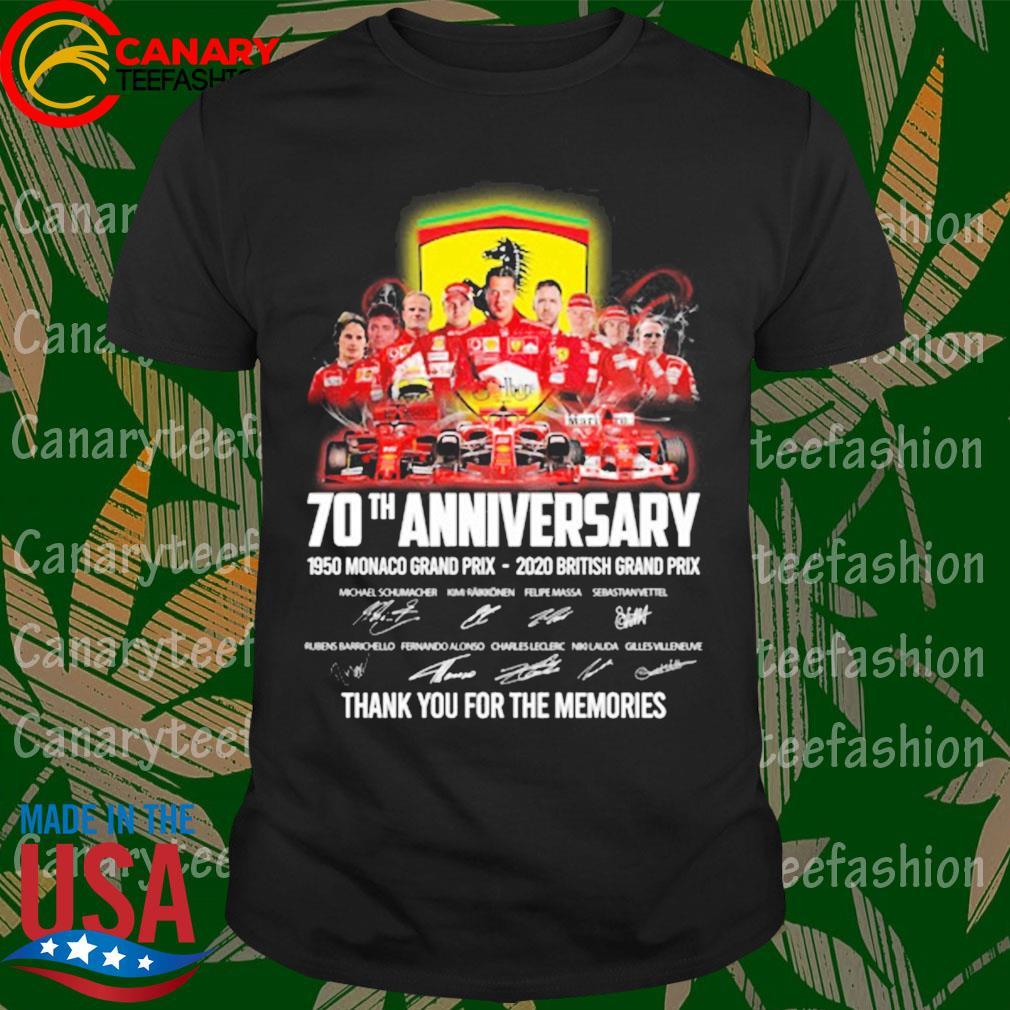 Scuderia Ferrari F1 70th anniversary 1950 Monaco Grand Prix - 2020 British Grand Prix thank you for the memories signatures shirt