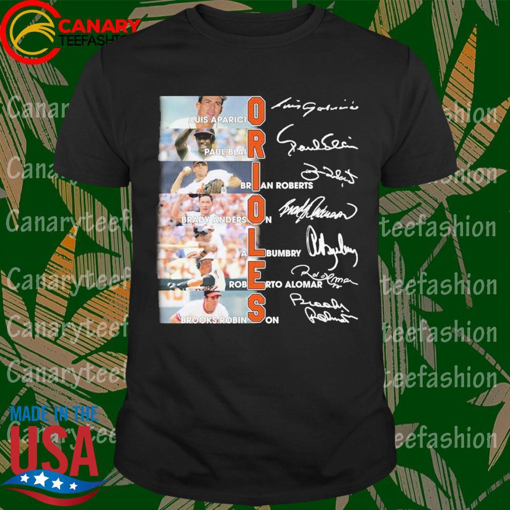 Baltimore Orioles Luis Aparicio Paul Blair Brian Roberts signatures shirt