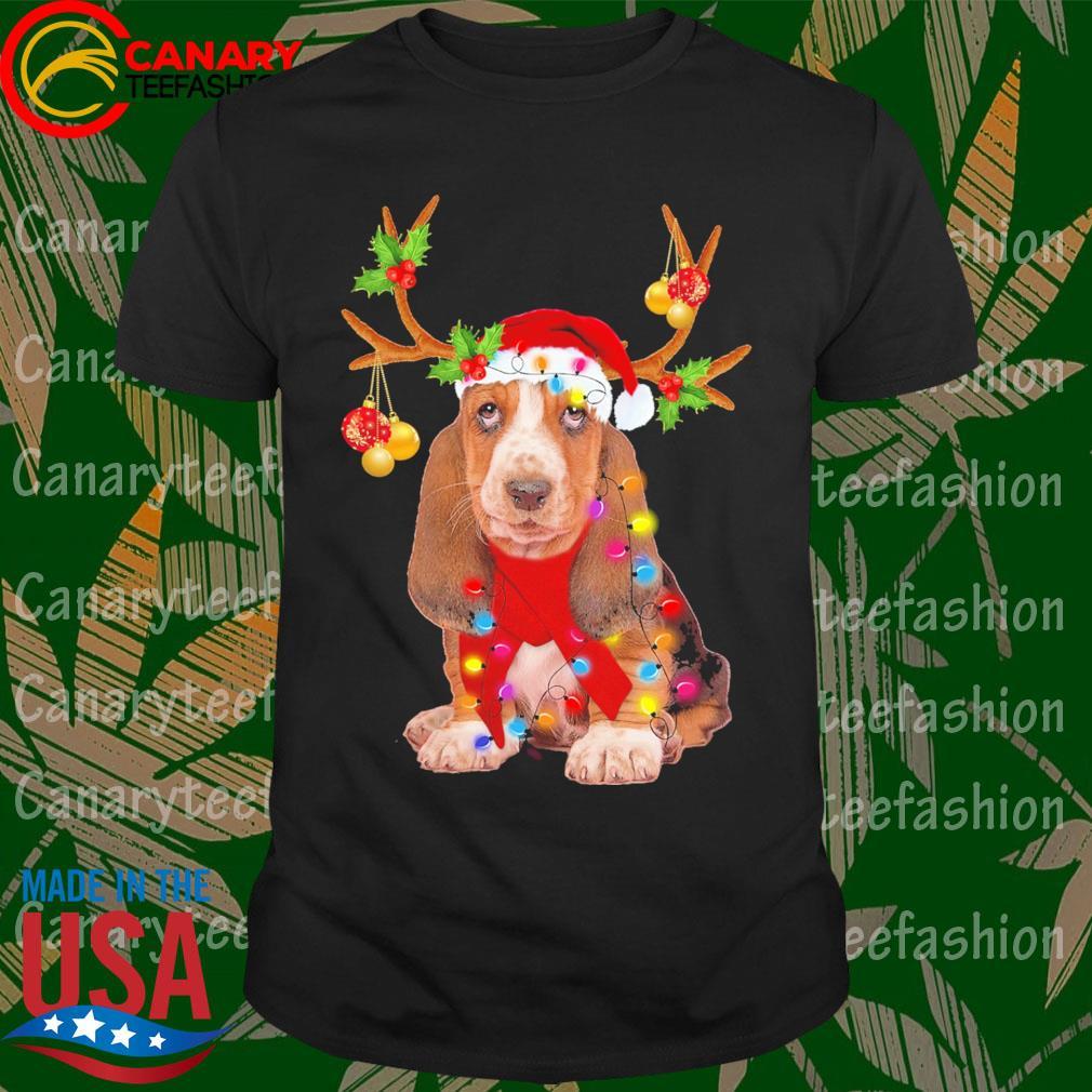 Basset Hound gorgeous reindeer Merry Christmas shirt