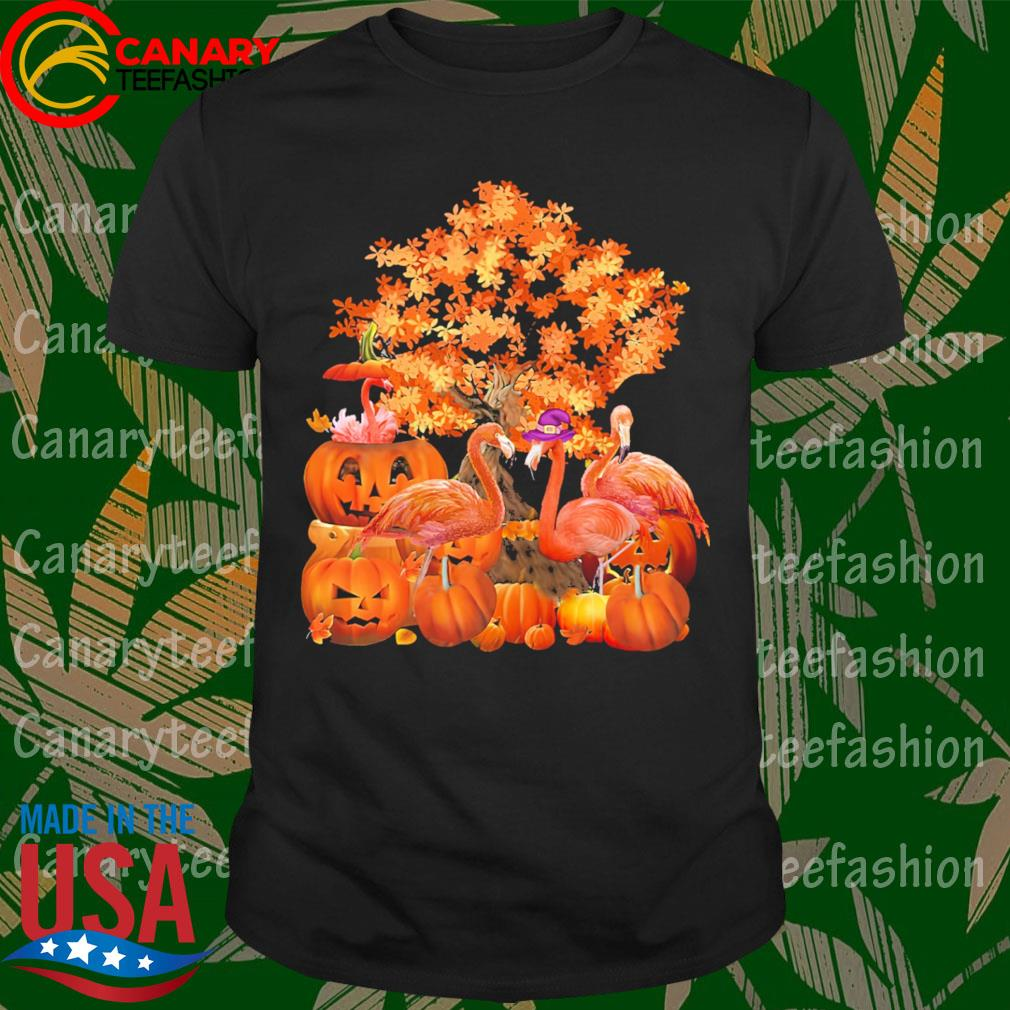 Flamingos pumpkin happy Halloween shirt