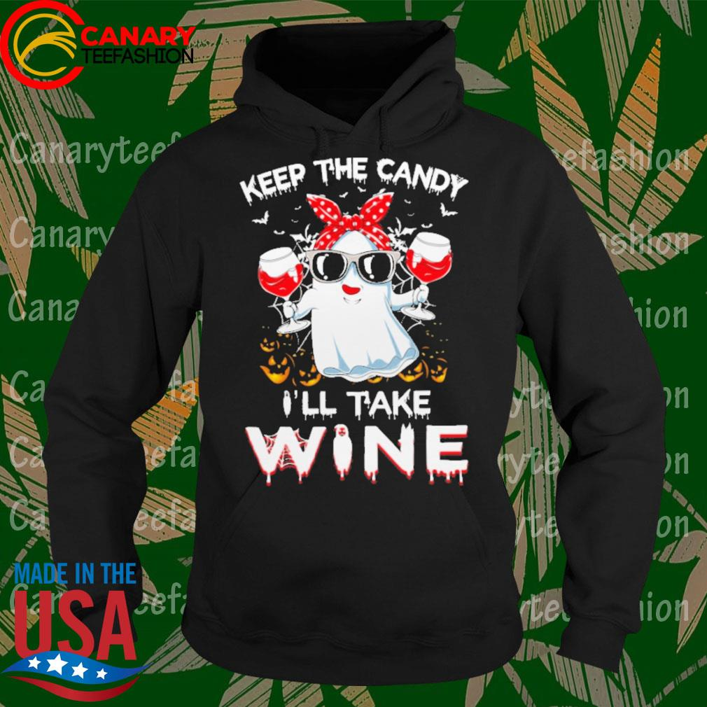 Girl Ghost drink Wine keep the candy I'll take Halloween s Hoodie