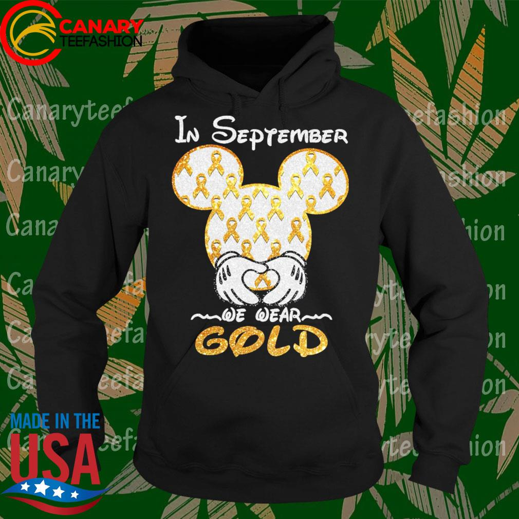 Official Mickey mouse in September we wear Gold diamond s Hoodie