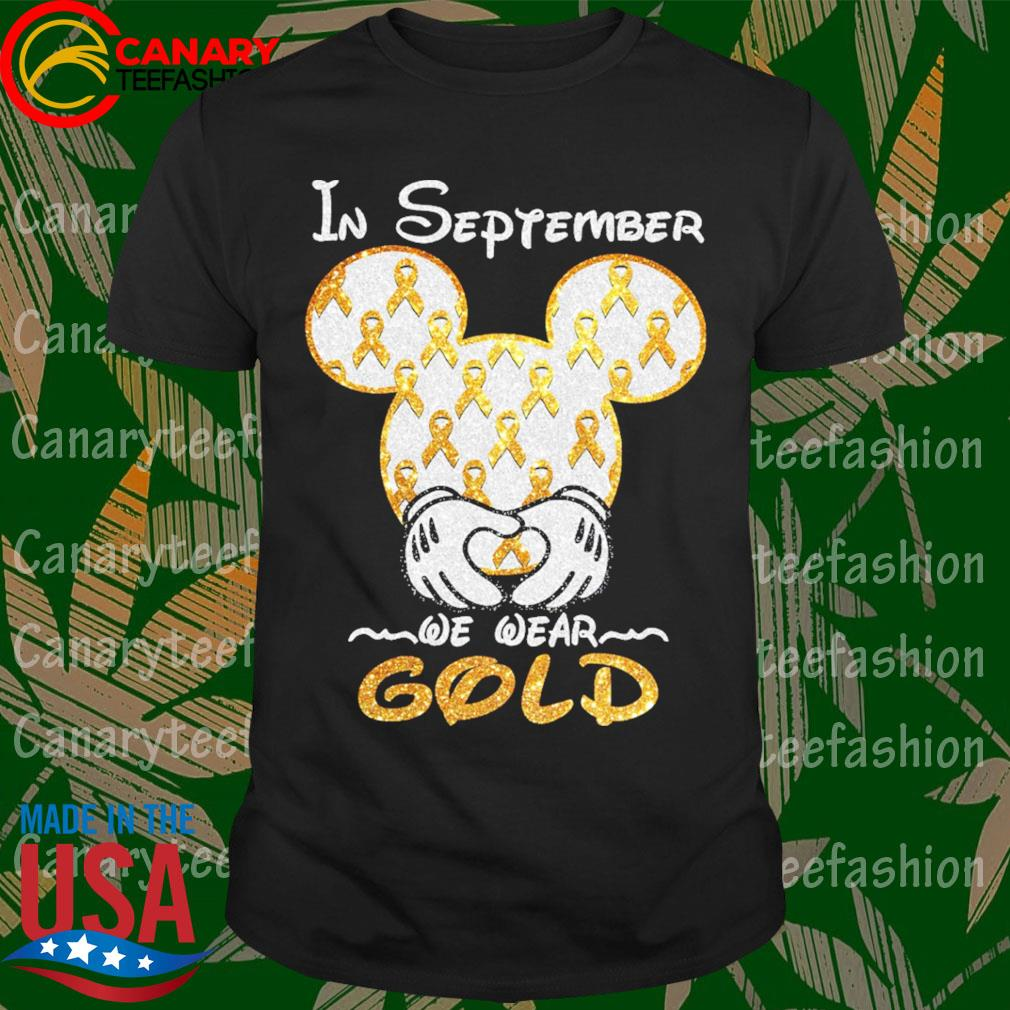 Official Mickey mouse in September we wear Gold diamond shirt