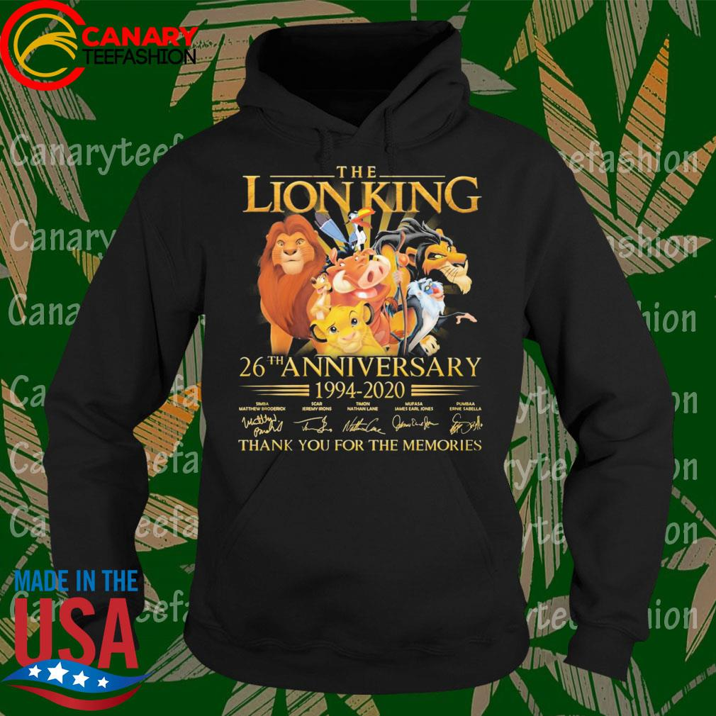 The Lion King 26th anniversary 1994 2020 thank you for the memories signatures s Hoodie