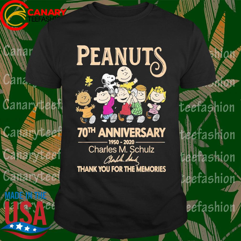 The Peanuts 70th anniversary 1950 2020 Charles M.Schulz thank you for the memories signature shirt