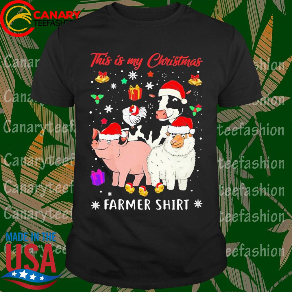 Pig Dairy Cow santa this is my Christmas Farmer shirt