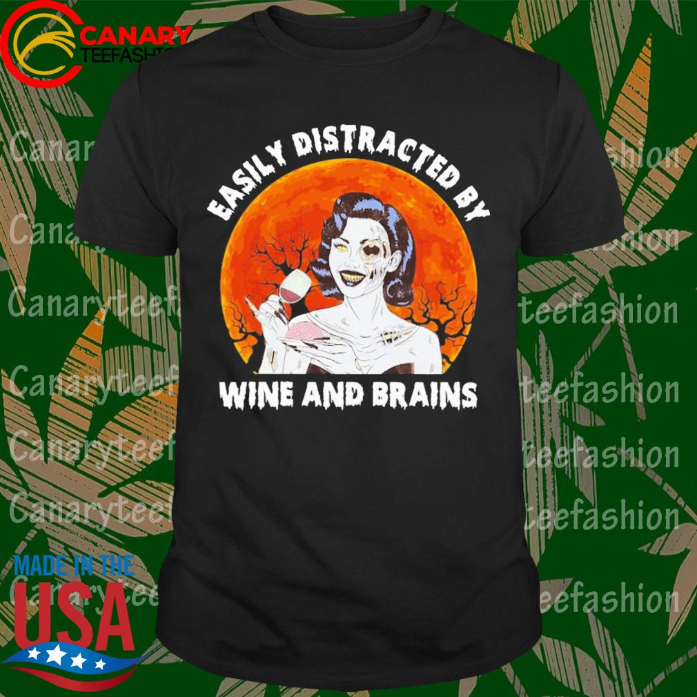 Zombie Easily Distracted by Wine and Brains moon Halloween shirt