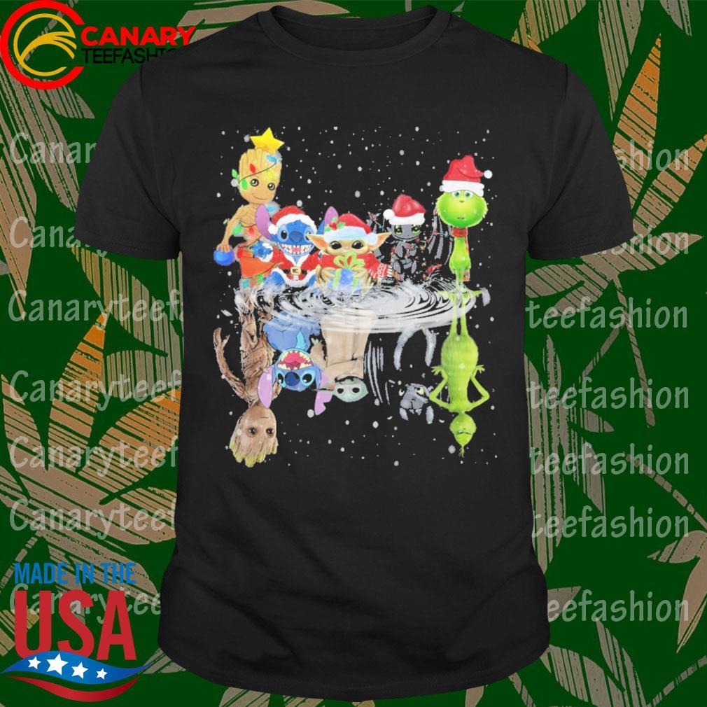 Baby Groot Baby Stitch Baby Yoda Night Fury Grinch Santa water reflection Merry Christmas shirt
