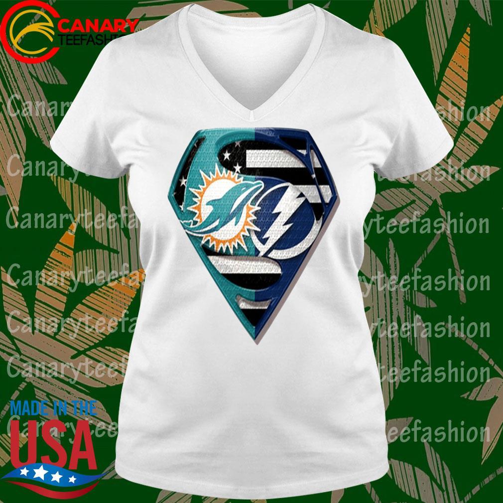 Superman Miami Dolphins vs Tampa Bay Lightning 2020 s Ladytee