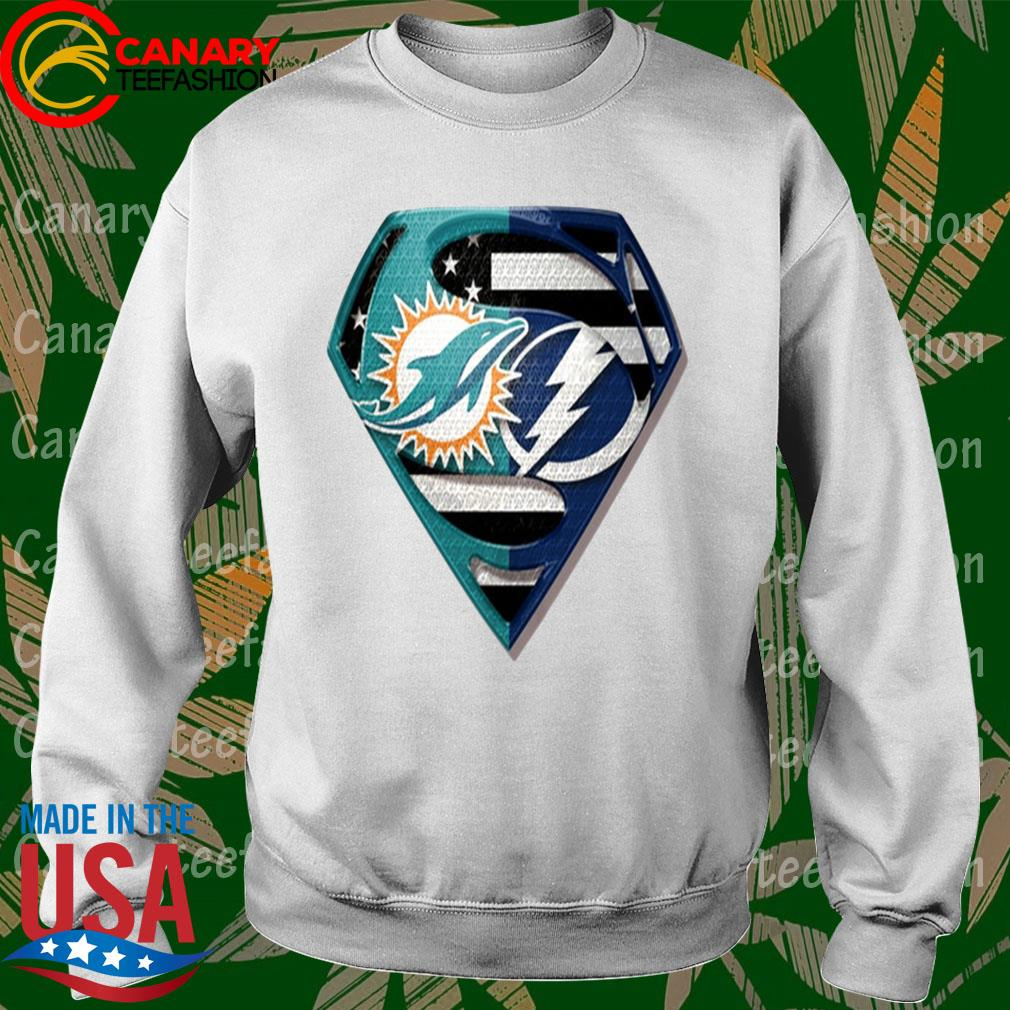 Superman Miami Dolphins vs Tampa Bay Lightning 2020 s Sweatshirt