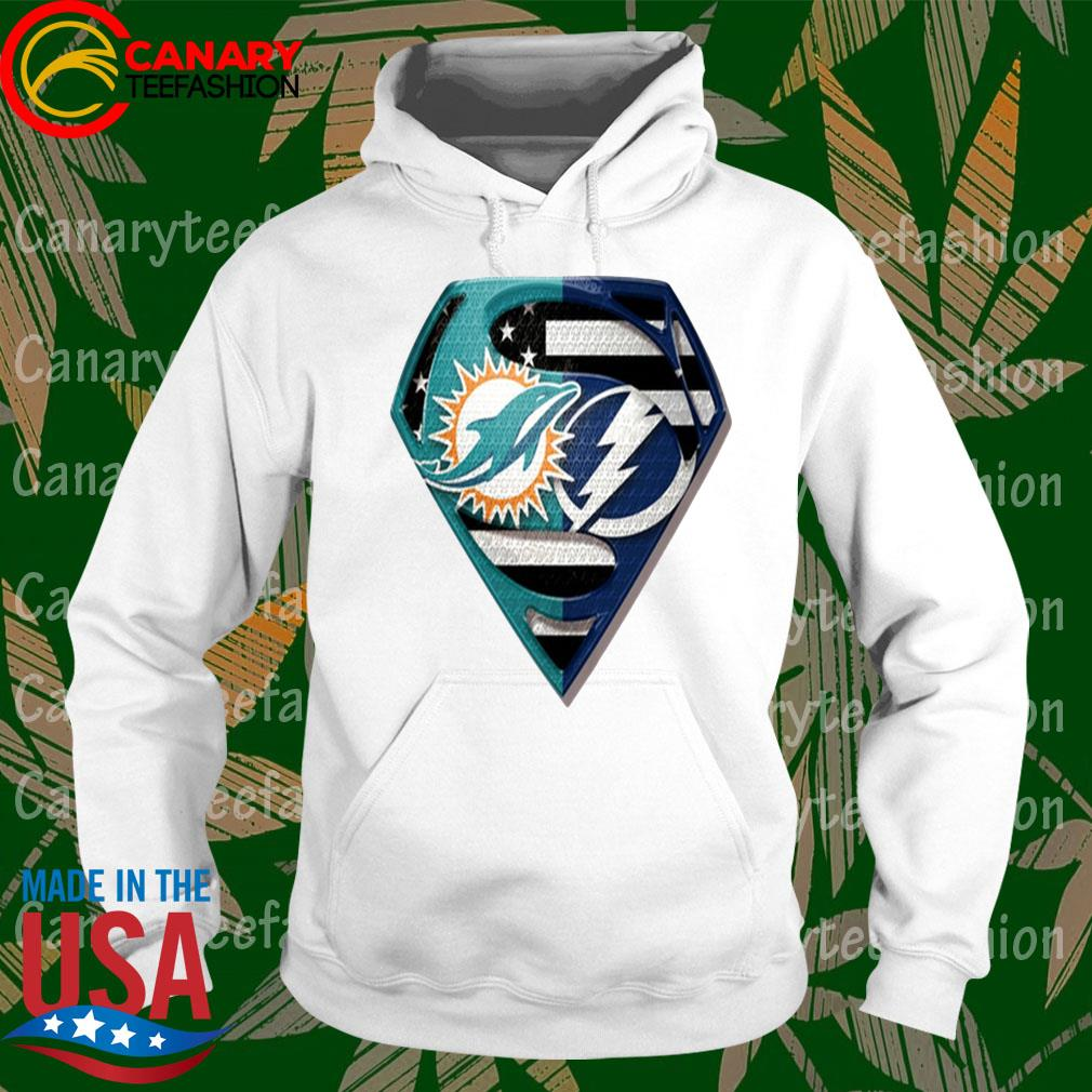 Superman Miami Dolphins vs Tampa Bay Lightning 2020 s hoodie